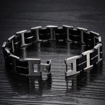 Stylish Chic Black Color Silicone Bracelet For Men -  AS THE PICTURE
