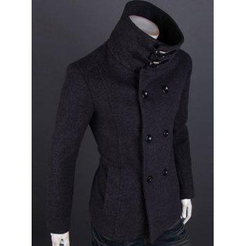 Fashion Solid Color Double Breasted Turndown Collar Long Sleeve Slimming Men's Woolen Trench Coat - DEEP GRAY DEEP GRAY