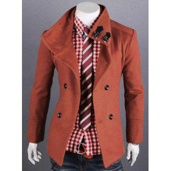 Fashion Solid Color Double Breasted Turndown Collar Long Sleeve Slimming Men's Woolen Trench Coat - BRICK-RED BRICK RED