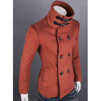 Fashion Solid Color Double Breasted Turndown Collar Long Sleeve Slimming Men's Woolen Trench Coat - L L