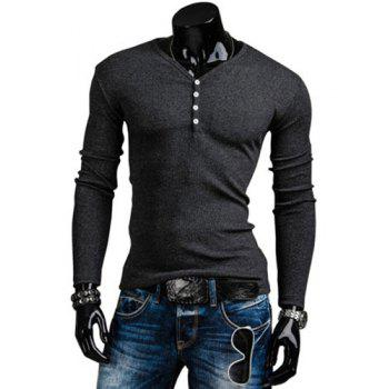 Stylish V-Neck Slimming Solid Color Button Embellished Long Sleeve Polyester T-Shirt For Men