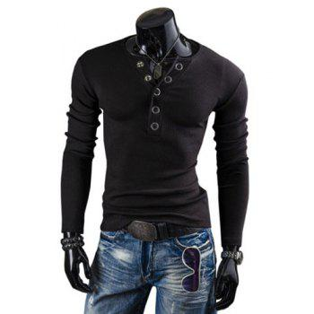 Fashion Solid Color Button Design Round Neck Long Sleeve Slimming Men's Polyester T-Shirt - BLACK XL