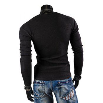Fashion Solid Color Button Design Round Neck Long Sleeve Slimming Men's Polyester T-Shirt - BLACK BLACK