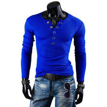 Fashion Solid Color Button Design Round Neck Long Sleeve Slimming Men's Polyester T-Shirt - SAPPHIRE BLUE SAPPHIRE BLUE
