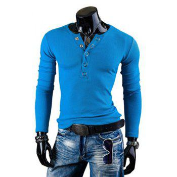 Fashion Solid Color Button Design Round Neck Long Sleeve Slimming Men's Polyester T-Shirt - LAKE BLUE L