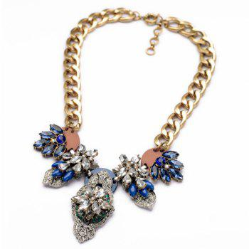 Retro Style Gemstone Embellished Flower Shape Women's Necklace - AS THE PICTURE