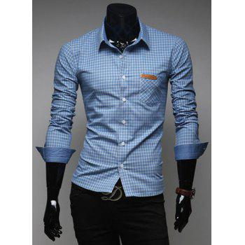 Fashion Tiny Checked Hit Color Splicing Shirt Collar Long Sleeve Slimming Men's Polyester Shirt