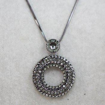 Gorgeous Rhinestone Embellished Ringlike Shape Women's Sweater Chain Necklace - COLOR ASSORTED