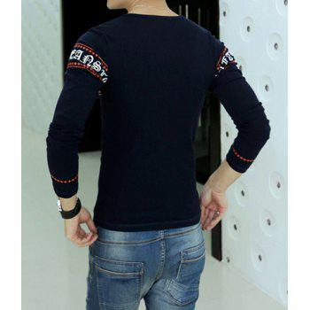 Fashion Abstract Letter Ethnic Printed Round Neck Long Sleeve Slimming Men's Cotton T-Shirt - XL XL