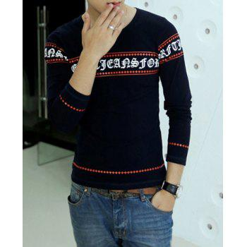 Fashion Abstract Letter Ethnic Printed Round Neck Long Sleeve Slimming Men's Cotton T-Shirt - PURPLISH BLUE XL