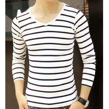 Stylish V-Neck Slimming Hit Color Pinstriped Long Sleeve Polyester T-Shirt For Men
