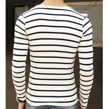 Fashion Hit Color Pinstriped V-Neck Long Sleeve Slimming Men's Polyester T-Shirt - 2XL 2XL
