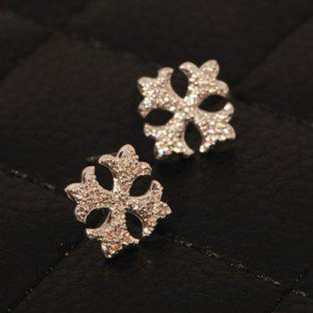Pair of Chic Rhinestone Embellished Cross Shape Earrings For Women