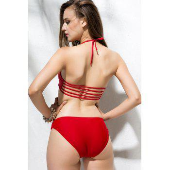 Solid Color Sexy Strapless Hollow Out Two-Pieces Women's Swimming Suits - RED RED