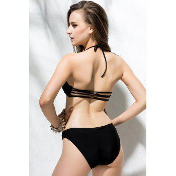 Sexy Strapless Solid Color Hollow Out Two-Pieces Women's Swimming Suits - BLACK BLACK