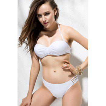 Solid Color Sexy Strapless Hollow Out Two-Pieces Women's Swimming Suits - WHITE WHITE