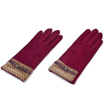 Pair of Material Splicing Touch Screen Gloves For Women - COLOR ASSORTED COLOR ASSORTED