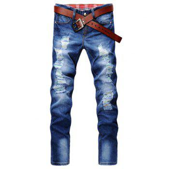 Casual Style Slimming Zipper Fly Narrow Feet Personality Hole Design Men's Denim Pants