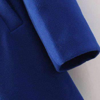 Graceful Solid Color Stand Collar Double Breasted Long Sleeve Worsted Coat For Women - SAPPHIRE BLUE M