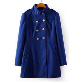 Graceful Solid Color Stand Collar Double Breasted Long Sleeve Worsted Coat For Women