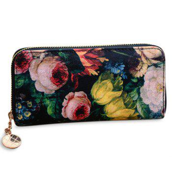 Pretty Zip and Floral Print Design Clutch Wallet For Women