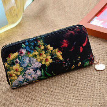Pretty Zip and Floral Print Design Clutch Wallet For Women - BLACK