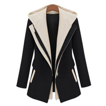 Stylish Color Block Hooded Faux Twinset Design Long Sleeve Coat For Women