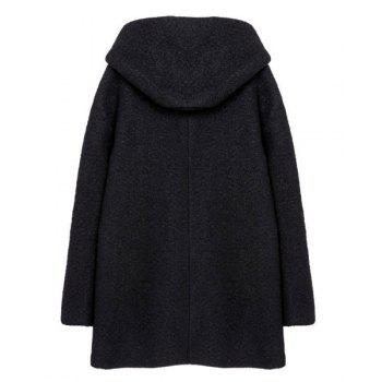 Solid Color Hooded Long Sleeve Zipper Design Worsted Simple Style Women's Coat - BLACK S