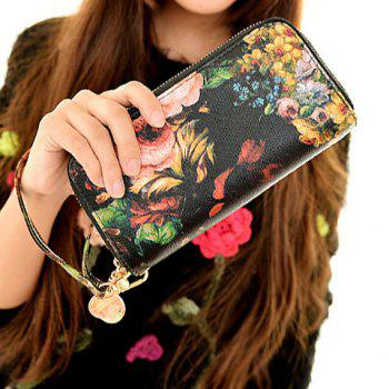 Fashion Zip and Floral Print Design Clutch Wallet For Women -  BLACK