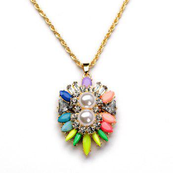 Cute Candy Color Gemstone Embellished Pendant Women's Necklace - AS THE PICTURE