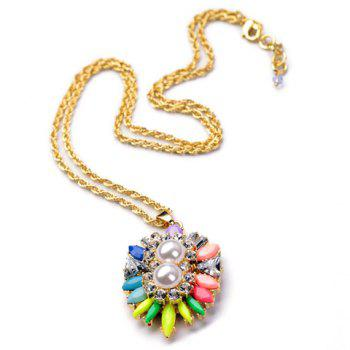 Cute Candy Color Gemstone Embellished Pendant Women's Necklace