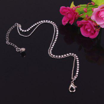 Chic Rhinestone Embellished Multi-Layered Anklet For Women - SILVER SILVER