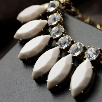 Cute Solid Color Gemstone Embellished Necklace For Women - WHITE