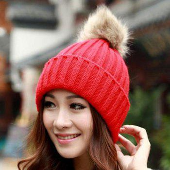 Hot Sale Fuzzy Ball Design Women's Knitted Winter Hat - COLOR ASSORTED ONE SIZE