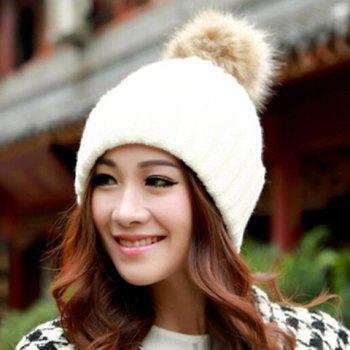Hot Sale Fuzzy Ball Design Women's Knitted Winter Hat