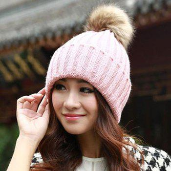 Hot Sale Fuzzy Ball Design Women's Knitted Winter Hat - ONE SIZE ONE SIZE