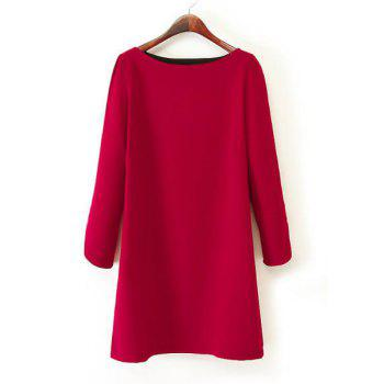 Simple Straight Boat Neck Red Loose-Fitting Long Sleeve Dress For Women