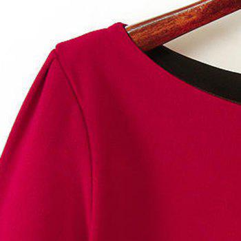 Simple Straight Boat Neck Red Loose-Fitting Long Sleeve Dress For Women - RED S