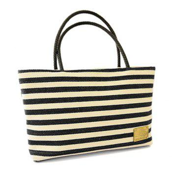 Buy Casual Canvas Stripe Design Shoulder Bag Women BLACK