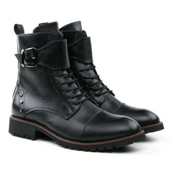 British Style Buckle and Rivets Design Men's Boots