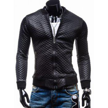 Trendy Slimming Plaid Long Sleeves Stand Collar Solid Color Thicken Zipper Design Men's Leather Jacket