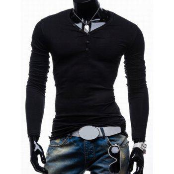 Buy Trendy Slimming Long Sleeves V-Neck Solid Color Button Embellished Men's Cotton Blend T-Shirt BLACK