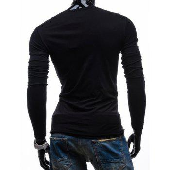 Plain V Neck Long Sleeves Button T Shirts - BLACK XL