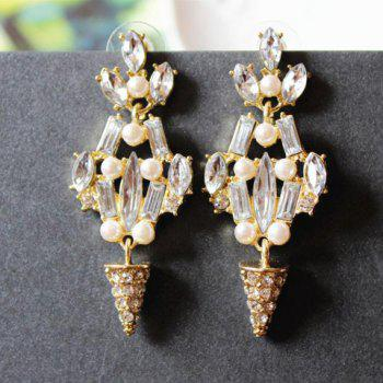 Pair of Rhinestone Embellished Drop Earrings