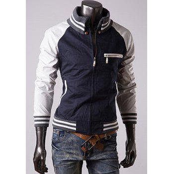 Trendy Slimming Long Sleeves Turn-down Collar Knitting Design Leather Splicing Color Block Men's Cotton Jacket - CADETBLUE CADETBLUE