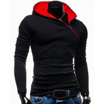Trendy Long Sleeves Hooded Personality Inclined Zipper Design Slimming Solid Color Men's Cotton Blend Hoodies - BLACK 2XL
