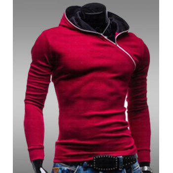 Trendy Long Sleeves Hooded Personality Inclined Zipper Design Slimming Solid Color Men's Cotton Blend Hoodies - RED XL