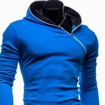 Trendy Long Sleeves Hooded Personality Inclined Zipper Design Slimming Solid Color Men's Cotton Blend Hoodies - 2XL 2XL