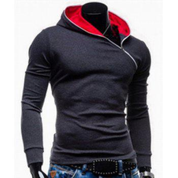Trendy Long Sleeves Hooded Personality Inclined Zipper Design Slimming Solid Color Men's Cotton Blend Hoodies - DEEP GRAY XL