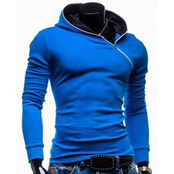 Trendy Long Sleeves Hooded Personality Inclined Zipper Design Slimming Solid Color Men's Cotton Blend Hoodies - BLUE XL